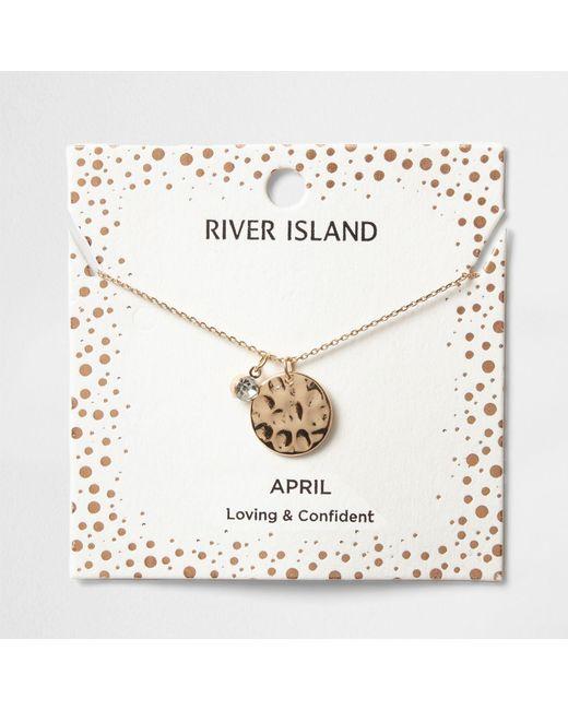 River Island   Metallic Silver Gem April Birthstone Necklace   Lyst
