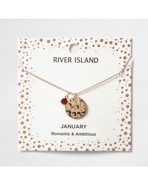 River Island | Red Gem January Birthstone Necklace | Lyst