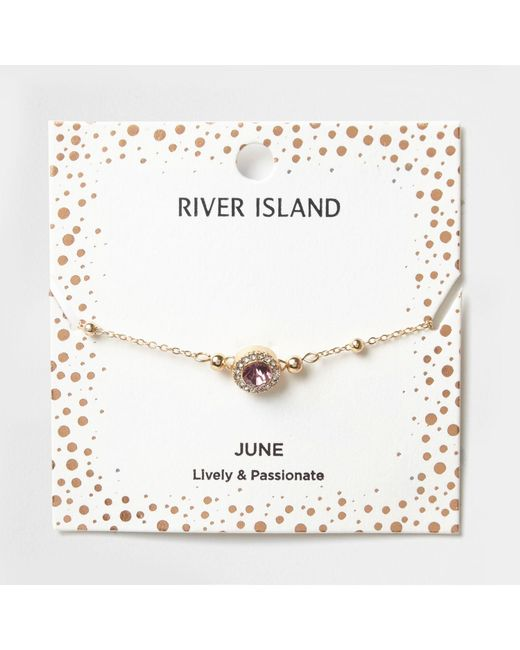 River Island | Purple Gem June Birthstone Bracelet | Lyst