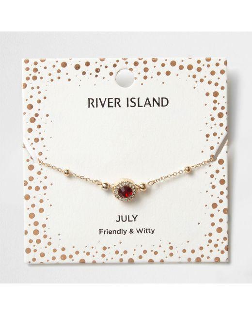 River Island | Red Gem July Birthstone Bracelet | Lyst