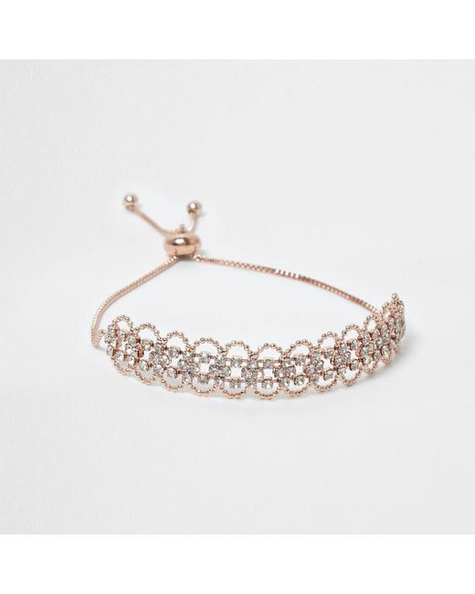 River Island   Multicolor Rose Gold Tone Scallop Diamante Bracelet   Lyst