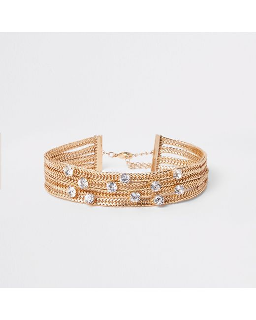 River Island - Metallic Gold Tone Chunky Layered Snake Chain Choker - Lyst