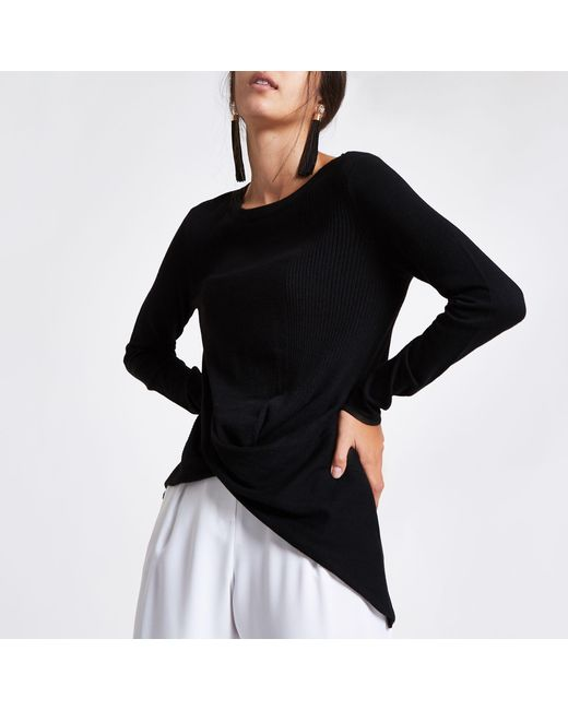 River Island - Black Twist Front Knitted Top - Lyst