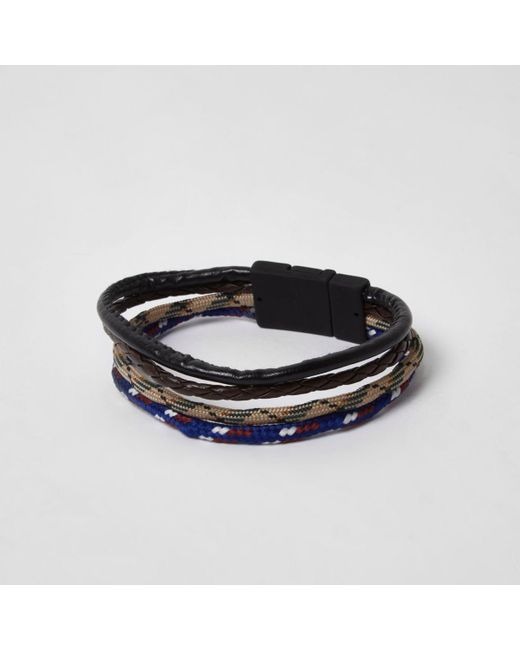 River Island | Black Mixed Texture Rope Pack Bracelet for Men | Lyst