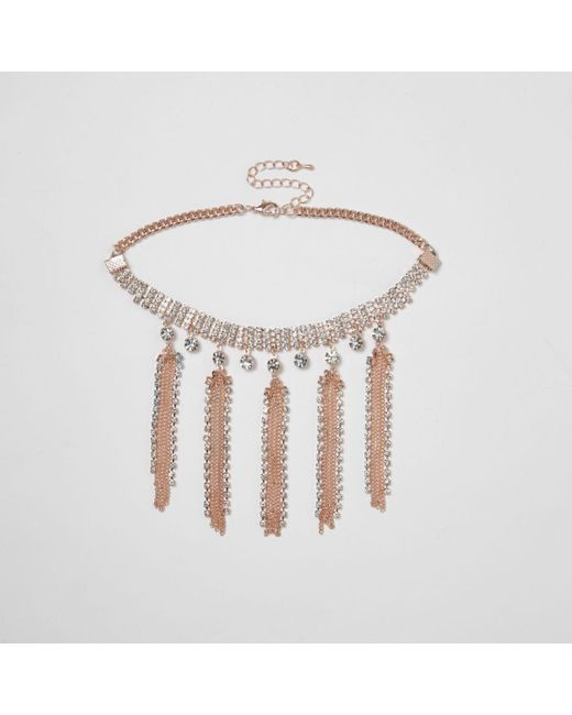 River Island | Pink Rose Gold Tone Diamante Tassel Choker Rose Gold Tone Diamante Tassel Choker | Lyst