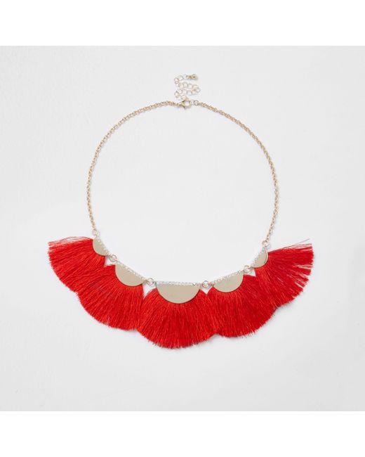 River Island - Red Tassel Fan Necklace - Lyst