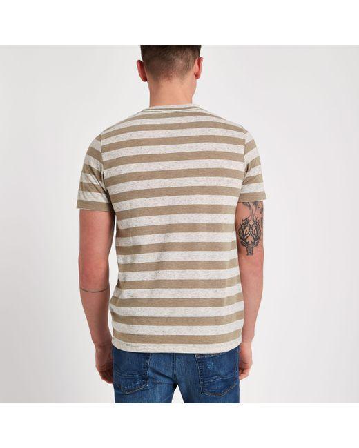 River Island Mens Jack and Jones Brown stripe T-shirt Jack & Jones Sale Get To Buy 7cKwc6