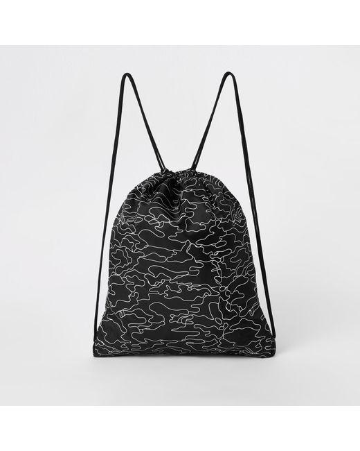 ... River Island - Hype Black Logo Print Drawstring Bag for Men - Lyst 6bad23ebeb5d1