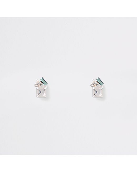River Island - Multicolor Rose Gold Tone Jewel Cluster Earrings - Lyst