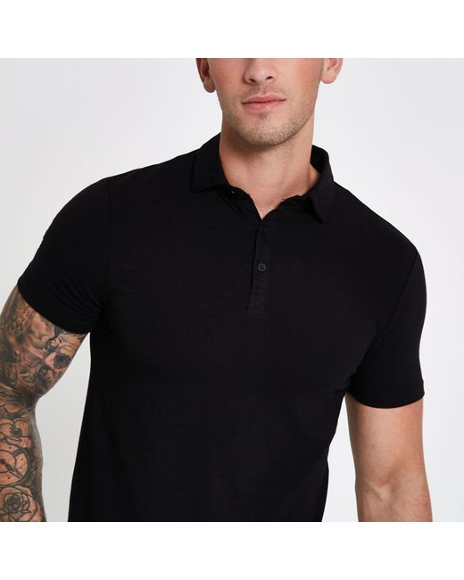 6e1809fe ... River Island - Black Essential Muscle Fit Polo Shirt for Men - Lyst