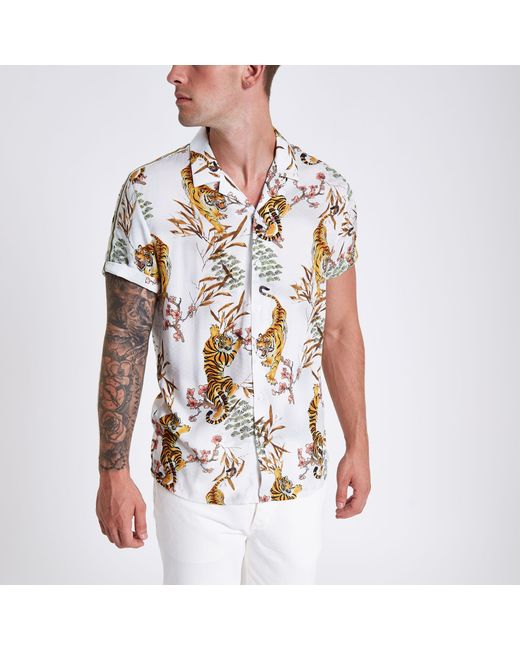 9954232e River Island Tape Tiger Print Revere Shirt in White for Men - Lyst