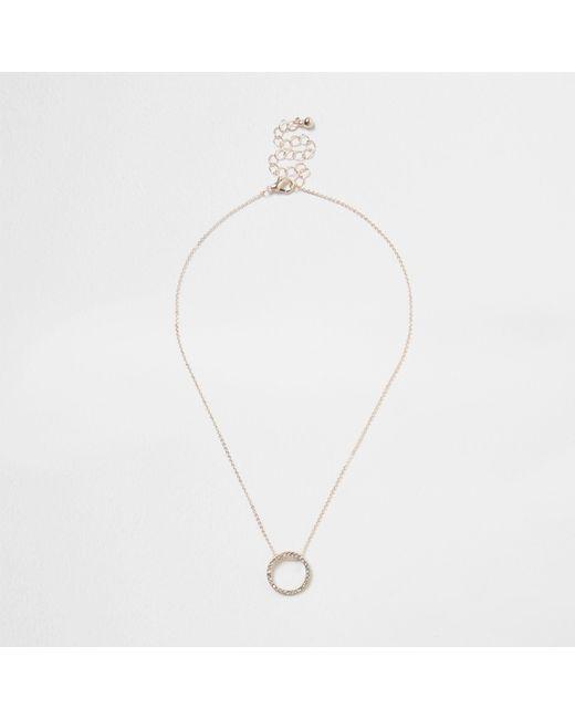 River Island - Metallic Rose Gold Tone Rhinestone Pave Circle Necklace - Lyst