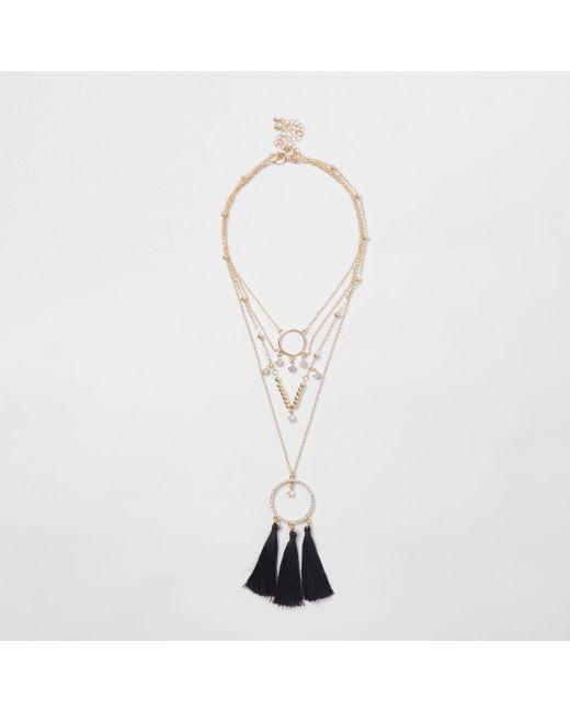 River Island - Metallic Gold Tone Black Triple Tassel Necklace - Lyst