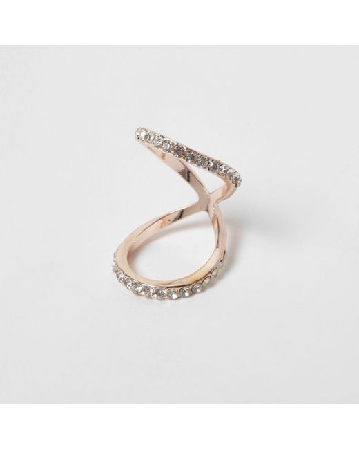 River Island | Metallic Rose Gold Tone Diamante Encusted Knuckle Ring | Lyst