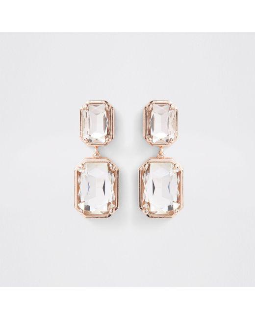River Island - Metallic Rose Gold Tone Crystal Jewel Clip On Earrings - Lyst