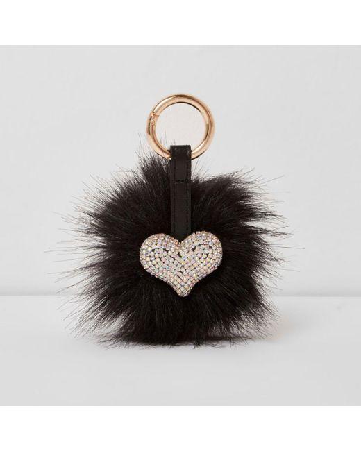 River Island   Black Faux Fur Pom Pom Diamante Heart Keyring Black Faux Fur Pom Pom Diamante Heart Keyring   Lyst