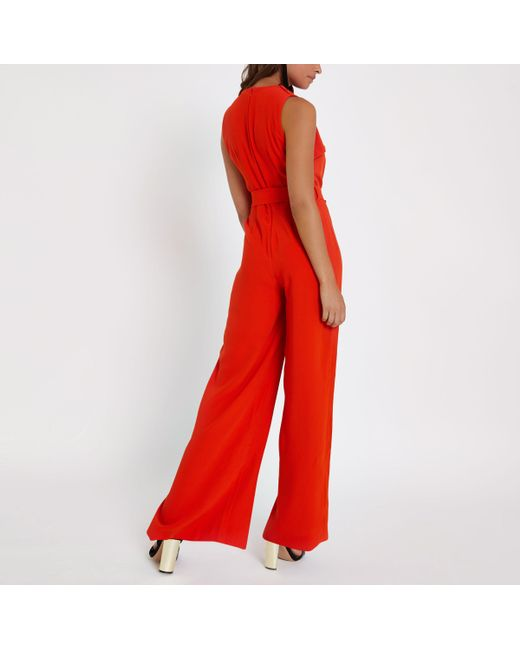 Get The Latest Fashion Outlet Sneakernews Womens Red wrap tie front wide leg jumpsuit River Island FaKEOcPU2