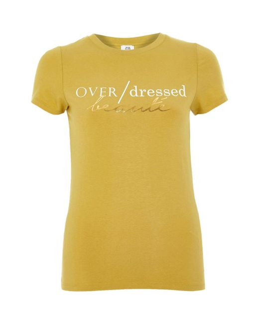 River island yellow 39 over dressed 39 print fitted t shirt for Fitted t shirt printing