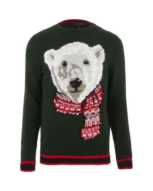 Lyst river island dark green polar bear knit christmas for Bear river workwear shirts
