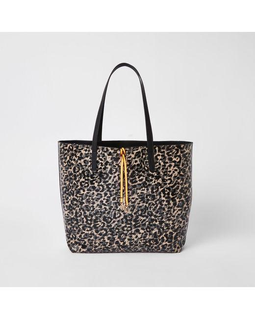 9d55e49ba590 River Island - Black Leopard Print Shopper Bag - Lyst ...