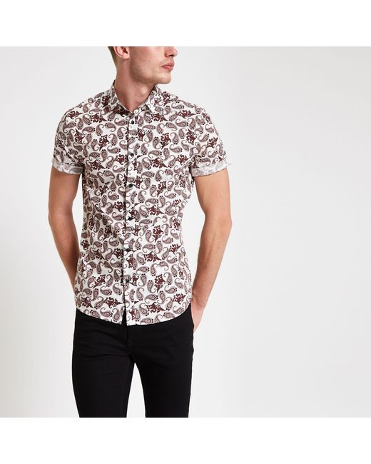 0c34cb8f1a River Island - Red Burgundy Paisley Print Short Sleeve Shirt for Men - Lyst  ...