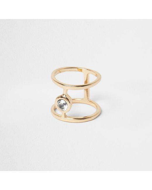 River Island | Metallic Gold Tone Diamante Ring | Lyst
