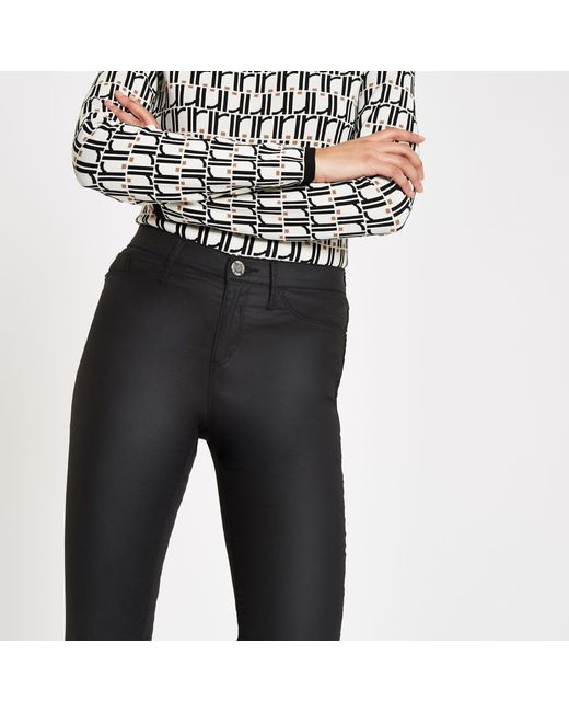 8d1bdcce8fa1aa River Island Black Coated Molly jeggings in Black - Lyst