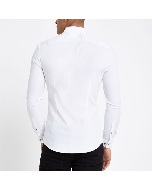 702b4d8ede ... River Island - White Poplin Long Sleeve Muscle Fit Shirt for Men - Lyst