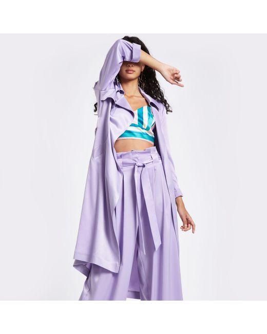 River Island - Light Purple Satin Tie Waist Trench Coat - Lyst