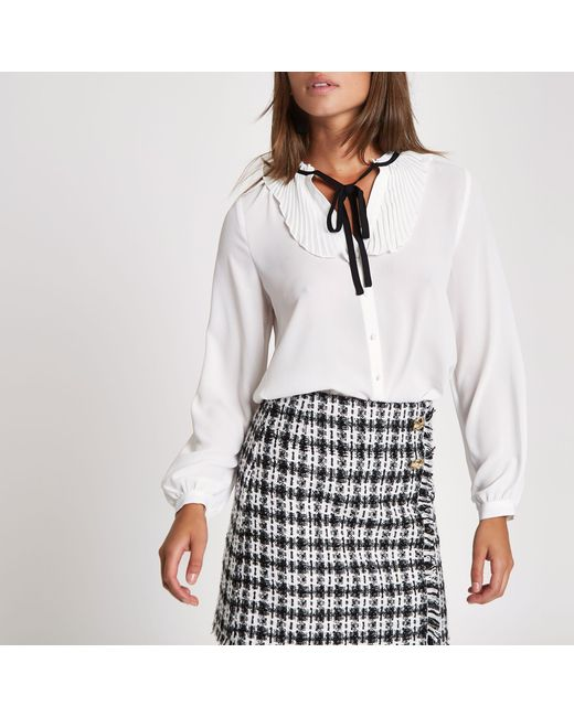 River Island - White Frill Tie Button-up Blouse - Lyst