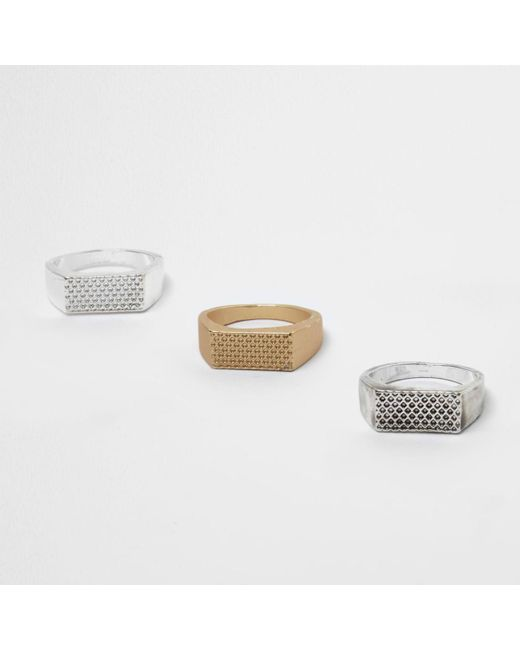 River Island | Gray Metal Textured Rectangle Ring Multipack | Lyst
