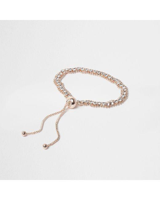River Island - Metallic Rose Tone Diamante Lariat Bracelet - Lyst