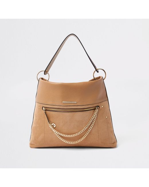 River Island - Natural Beige Zip Front Chain Front Slouch Bag - Lyst