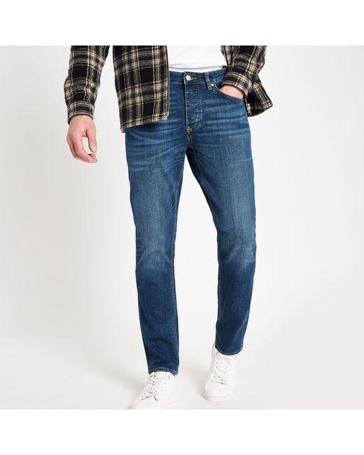 River Island - Dark Blue Dylan Slim Fit Jeans for Men - Lyst