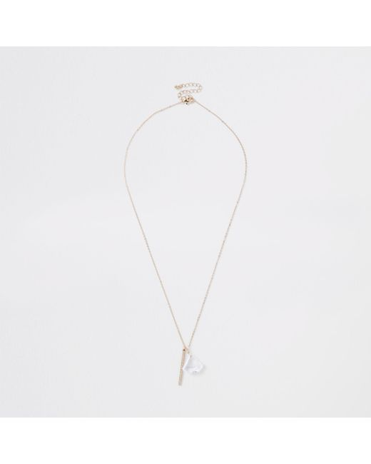 River Island - Metallic Gold Tone Clear Jewel Diamante Paved Necklace - Lyst