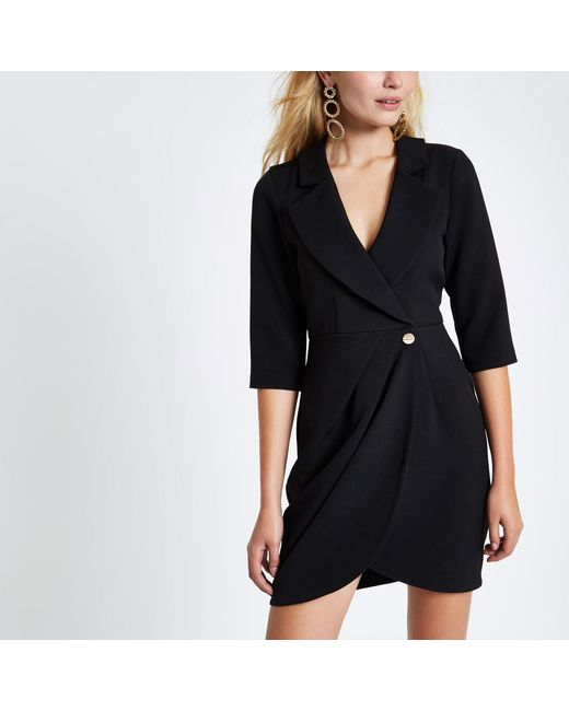 River Island - Black Bodycon Wrap Tux Mini Dress - Lyst