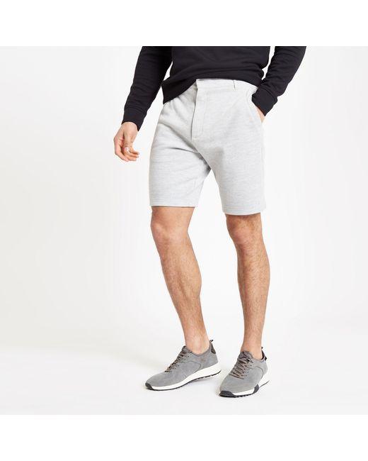 fd4fed30ea River Island - Gray Marl Slim Fit Pique Shorts for Men - Lyst ...
