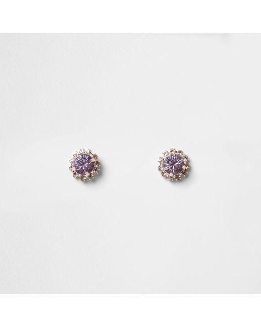 River Island | Multicolor Rose Gold Tone Purple Diamante Stud Earrings | Lyst