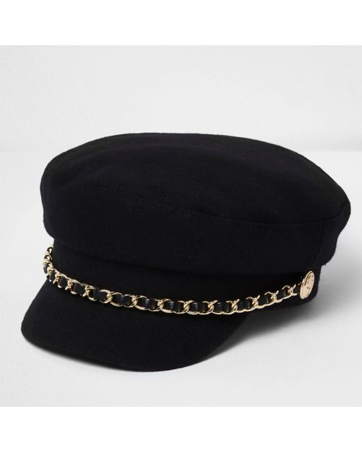 River Island Black Chain Trim Baker Boy Hat In Black Lyst