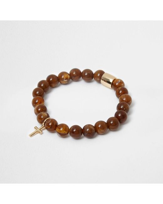 River Island | Brown Bead Cross Bracelet | Lyst