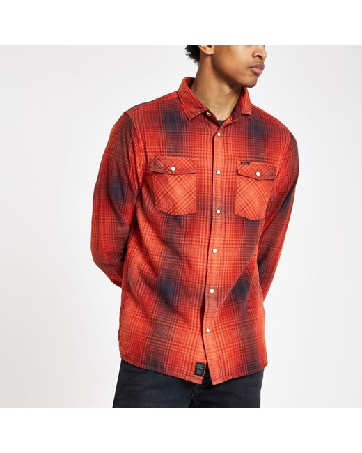 a66e633e7983 River Island - Pepe Jeans Red Check Button-down Shirt for Men - Lyst ...