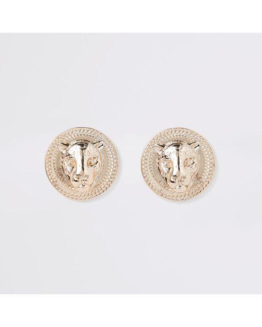 River Island - Metallic Gold Tone Jaguar Stud Earrings - Lyst