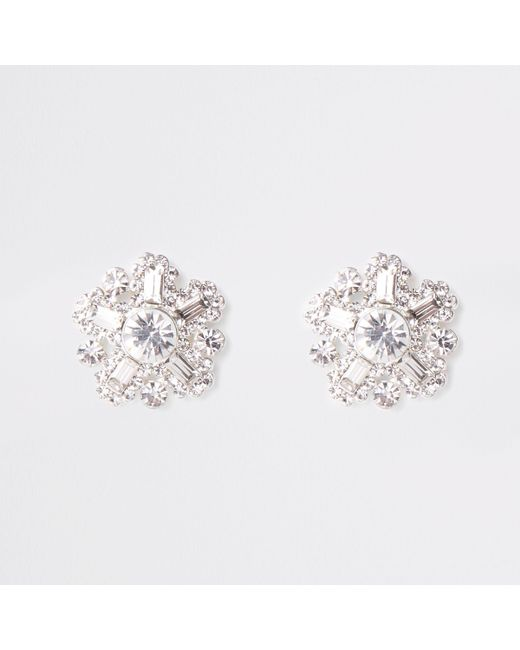 River Island - Metallic silver Tone Diamante Stud Earrings - Lyst