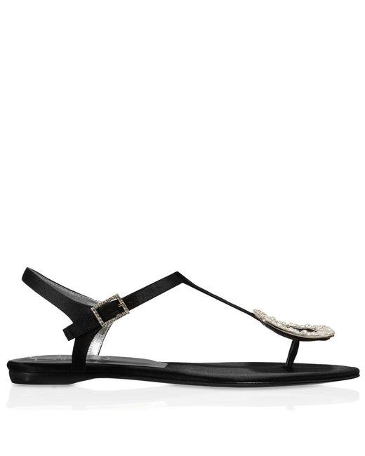 Roger Vivier - Black Chips Strass Sandals In Silk Satin - Lyst