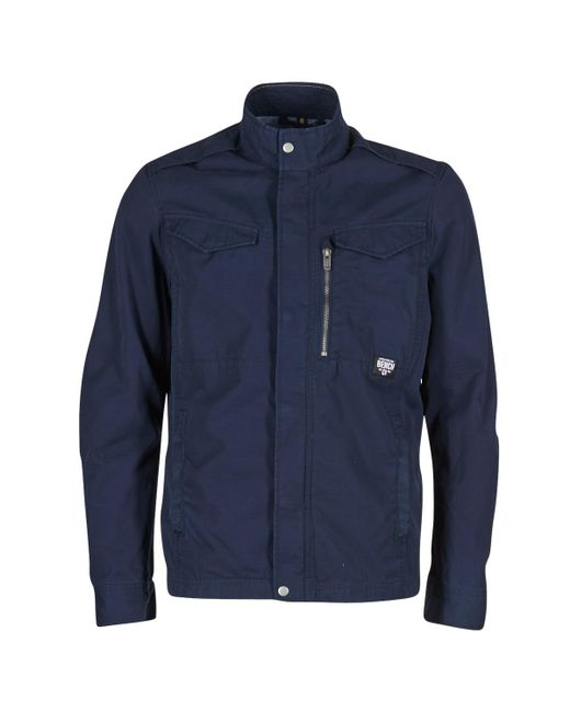 Bench | Blue Cotton Biker Jacket for Men | Lyst
