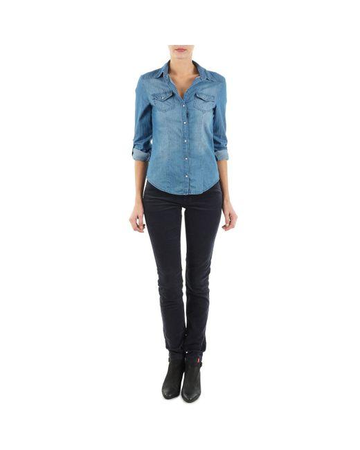 Esprit - Blue High Skin Cord Trousers - Lyst