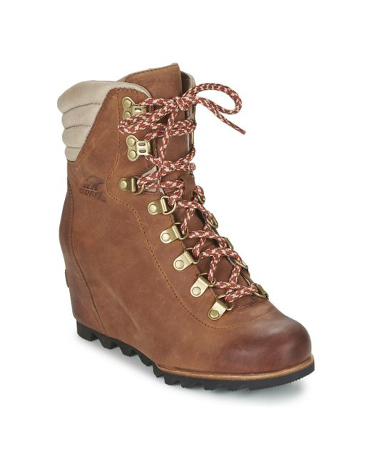 Sorel - Brown Conquest Wedge Low Ankle Boots - Lyst