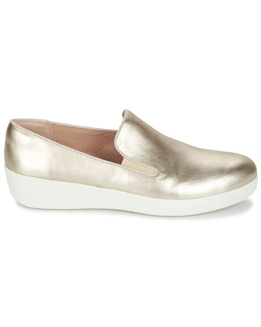5b1ceccb0 Fitflop Super Skate Leather Slip-ons (shoes) in Metallic - Lyst