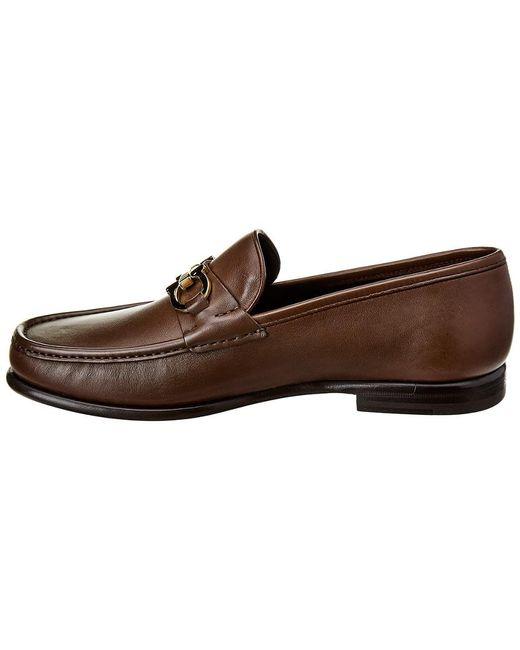 1c1e77c76aa ... Ferragamo - Brown Gancini Leather Loafer for Men - Lyst