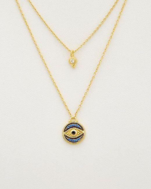 Judith Ripka - Metallic 14k Over Silver 0.18 Ct. Tw. Gemstone Double Strand Evil Eye Necklace - Lyst